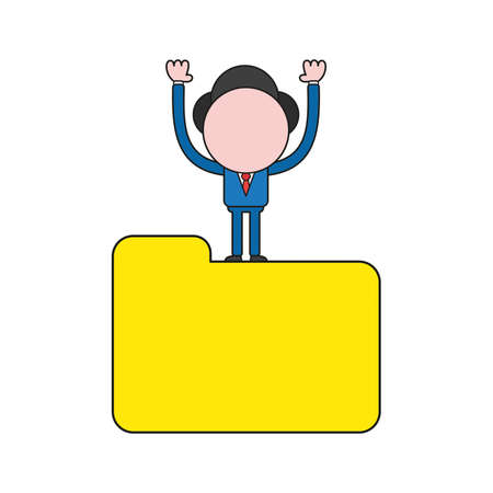 Vector illustration businessman character standing on closed file folder. Color and black outlines.