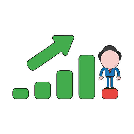 Vector illustration businessman character standing on sales bar graph moving up and down. Color and black outlines.