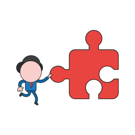 Vector illustration businessman character running and carrying missing jigsaw puzzle piece. Color and black outlines.