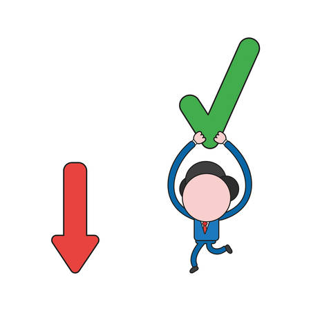 Vector illustration businessman character running and carrying check mark to arrow moving down. Color and black outlines.