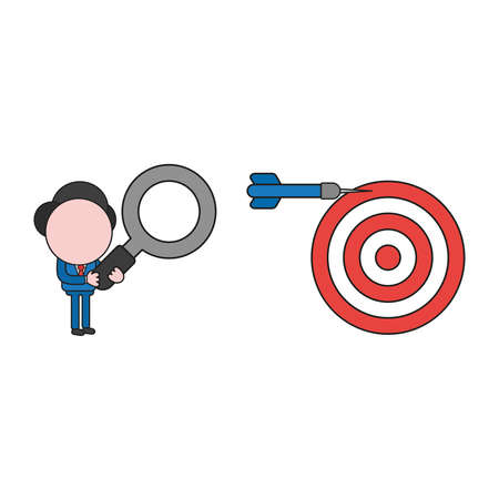 Vector illustration businessman character holding magnifying glass and looking to dart miss the target on bulls eye. Color and black outlines.