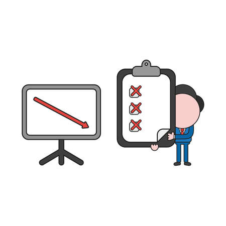 Vector illustration businessman character with sales chart arrow moving down and holding clipboard with x marks. Color and black outlines.