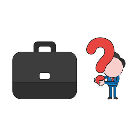 Vector illustration businessman character with briefcase and holding question mark. Color and black outlines.