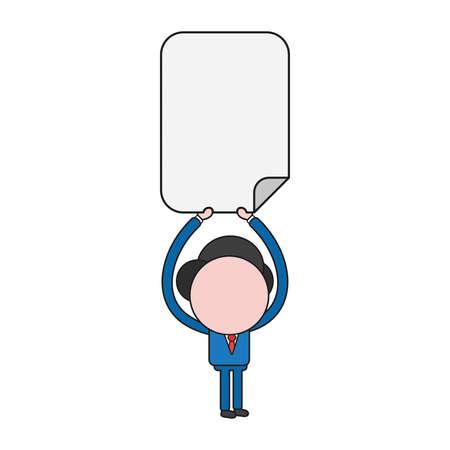 Vector illustration businessman character holding up blank paper. Color and black outlines. Illustration
