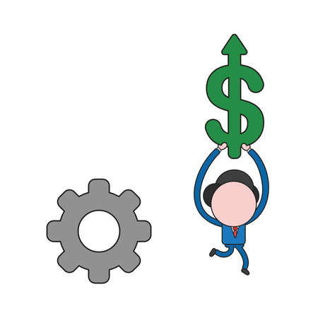 Vector illustration businessman character with gear and running and carrying dollar arrow moving up. Color and black outlines.