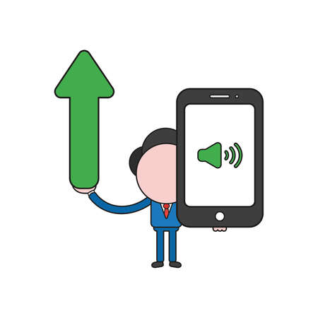 Vector illustration businessman character holding arrow moving up and smartphone with sound on icon. Color and black outlines.