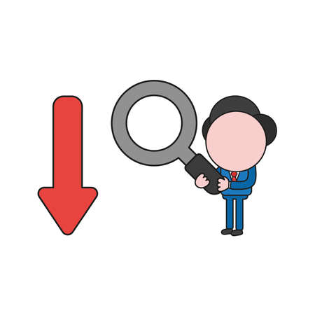 Vector illustration businessman character holding magnifying glass and looking to arrow moving down. Color and black outlines.