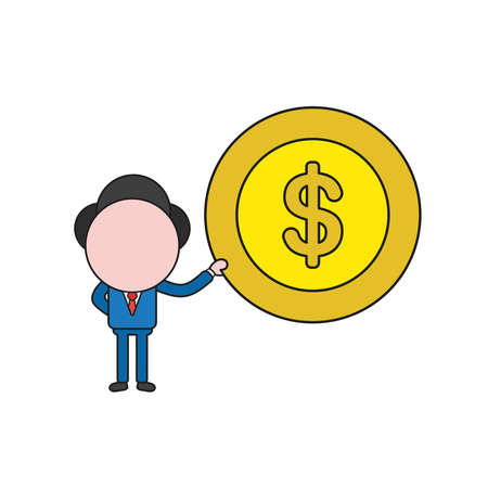 Vector illustration businessman character holding dollar money coin. Color and black outlines.