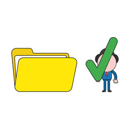 Vector illustration businessman character holding check mark to open file folder. Color and black outlines. Ilustracja