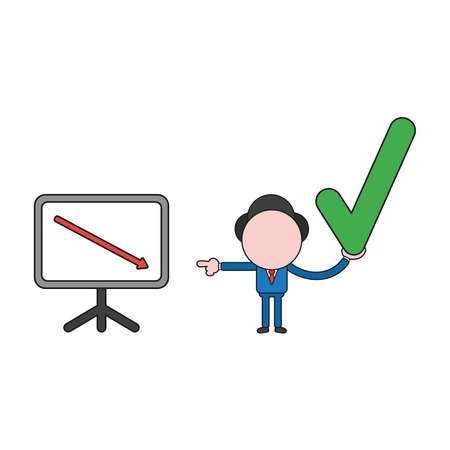 Vector illustration businessman character with sales chart arrow moving down and holding check mark. Color and black outlines.