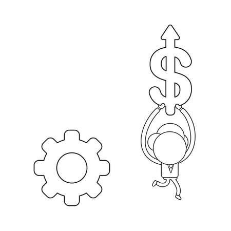 Vector illustration businessman character with gear and running and carrying dollar arrow moving up. Black outline.