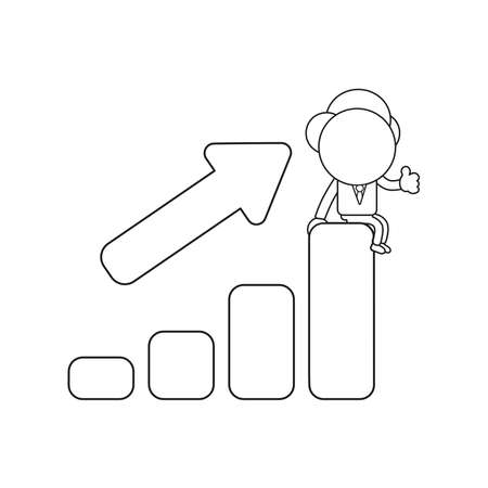 Vector illustration businessman character sitting on sales bar graph moving up and gesturing thumbs up. Black outline.