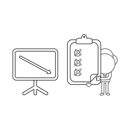 Vector illustration businessman character with sales chart arrow moving down and holding clipboard with x marks. Black outline. Illustration
