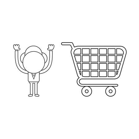 Vector illustration businessman character with shopping cart. Black outline.