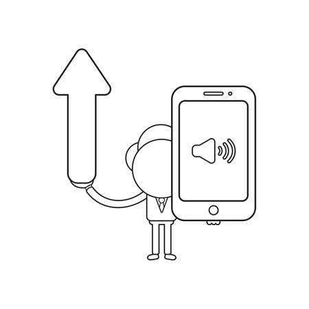 Vector illustration businessman character holding arrow moving up and smartphone with sound on icon. Black outline. Ilustrace