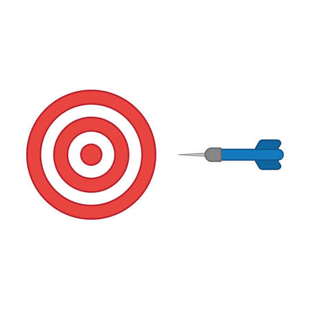 Flat design style vector illustration concept of bullseye with dart icon on white background. Colored outlines.