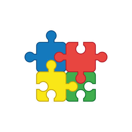 Flat design style vector illustration concept of jigsaw puzzle pieces symbol icons connected on white background. Colored outlines.