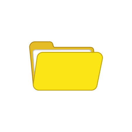 Flat design style vector illustration of open folder symbol icon on white background. Colored outlines.