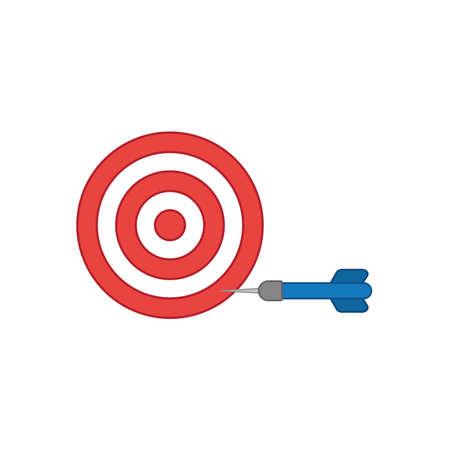 Bullseye di concetto dell'illustrazione di vettore di stile di progettazione piana con l'icona del dardo nel lato su fondo bianco. Contorni colorati.