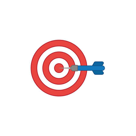 Flat design style vector illustration concept of bullseye with dart icon in the center on white background.