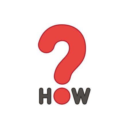 Flat design style vector illustration concept of how text with question mark symbol icon on white background. Colored outlines. 向量圖像