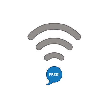 Flat design style vector illustration concept of wifi symbol with blue speech bubble icon and free text on white background. Colored outlines.