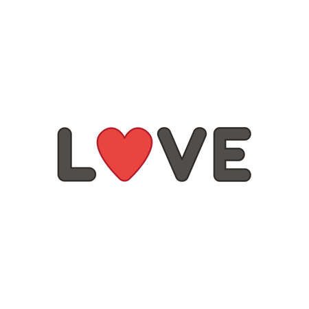 Flat design style vector illustration concept of black love text with heart symbol icon on white background. Colored outlines. Ilustração