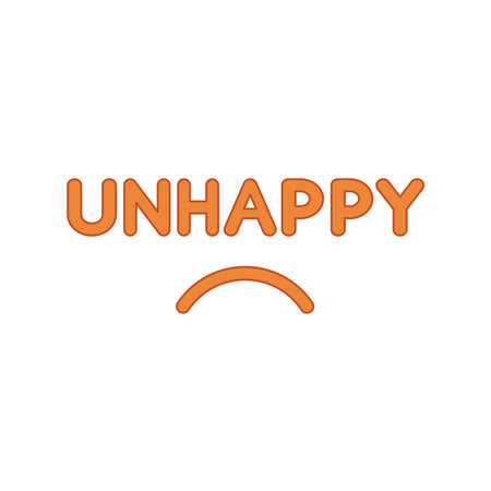 Flat design style vector illustration concept of unhappy text with sulking mouth on white background. Colored outlines.