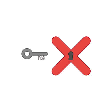 Flat design style vector illustration concept of key with solution text and x mark with keyhole symbol icon on white background. Colored outlines.