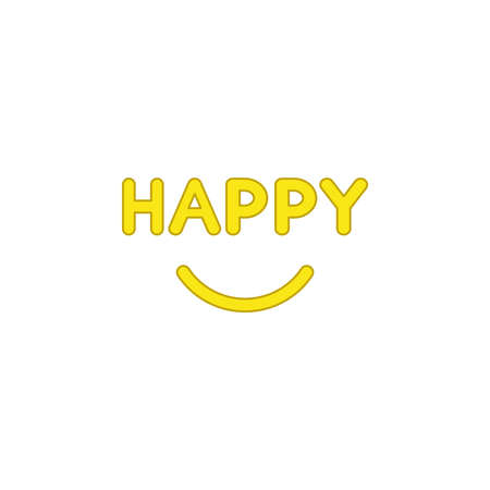 Flat design style vector illustration concept of -happy text with smiling mouth on white background. Colored outlines.