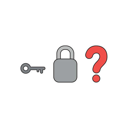 Vector icon concept of grey key with closed padlock without keyhole and red question mark. Black outlines and colored.