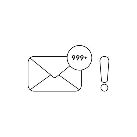 Vector icon concept of closed envelope email and lot of junk spam emails with exclamation mark. Black outlines.