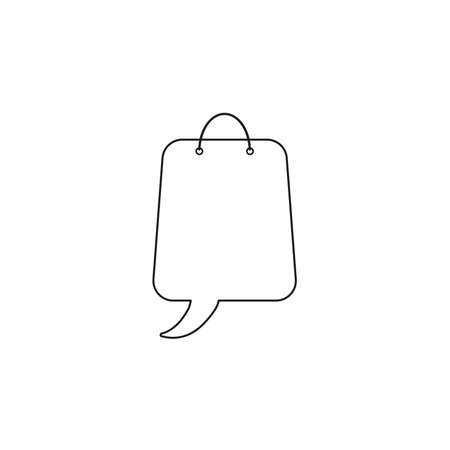 Vector icon concept of shopping bag with speech bubble. Black outlines.  イラスト・ベクター素材