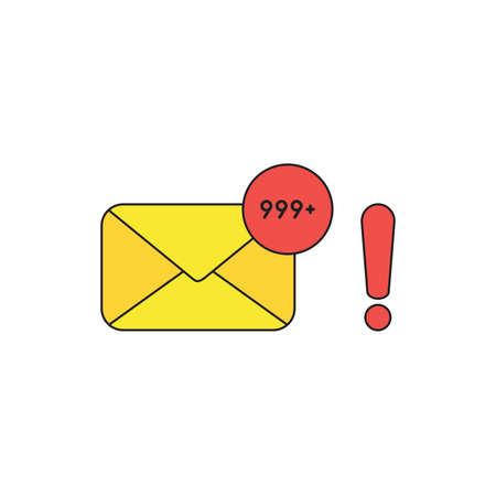 Vector icon concept of closed envelope email and lot of junk spam emails with red exclamation mark. Black outlines and colored.