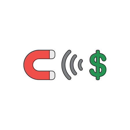 Vector icon concept of magnet attracting green dollar symbol. Black outlines and colored. Çizim