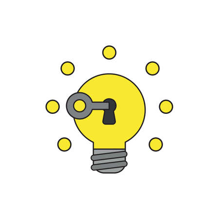 Vector icon concept of key unlocking yellow light bulb idea glowing. Black outlines and colored.