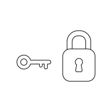 Vector icon concept of locked closed padlock with key. Black outlines.