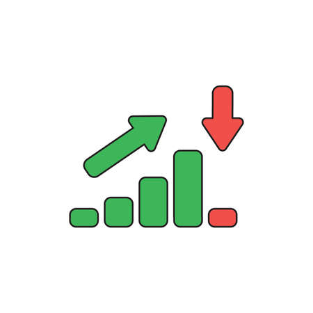 Vector icon concept of green sales bar chart moving up then moving down with arrows pointing up and down. Black outlines and colored.