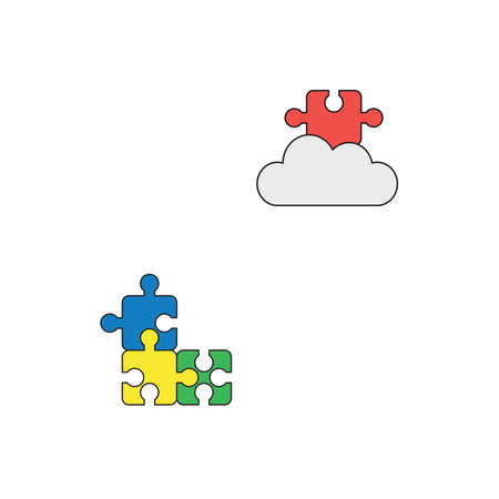 Vector icon concept of blue, yellow, green puzzle pieces connected and missing red puzzle piece on cloud. Black outlines and colored.