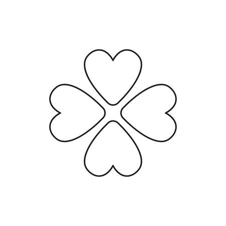 Vector icon concept of rotated four hearts. Black outlines.
