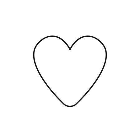 Vector icon of heart shape. Black outlines.