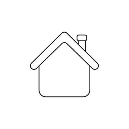 Vector icon concept of house with red roof. Black outlines.