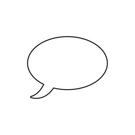 Vector icon of speech bubble. Black outlines.