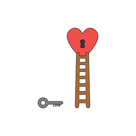 Vector icon concept of grey love key reach keyhole in red heart with wooden ladder. Black outlines and colored.