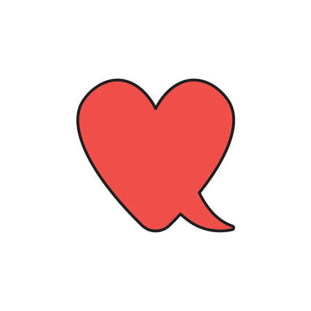 Vector icon concept of red heart-shaped speech bubble. Black outlines and colored. Çizim