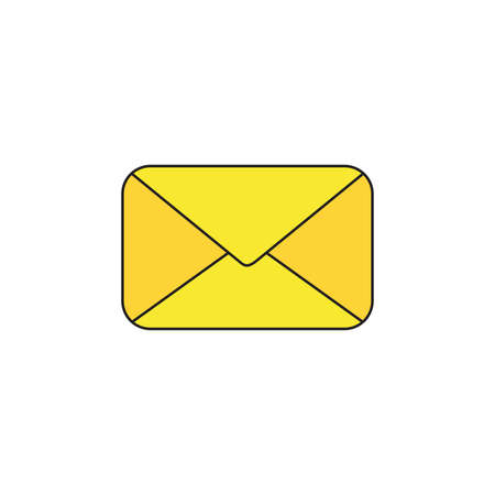 Vector icon of yellow closed mail envelope. Black outlines and colored. Illustration