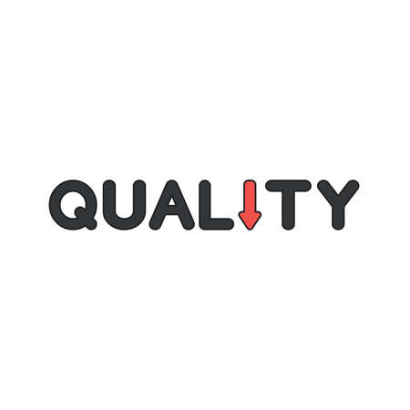 Vector icon concept of quality word text with red arrow moving down. Black outlines and colored.