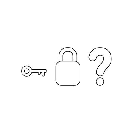 Vector icon concept of key with closed padlock without keyhole and question mark. Black outlines.