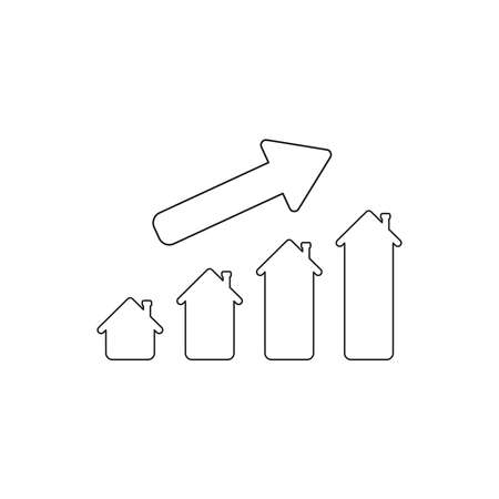 Vector icon concept of house sales or value bar chart with arrow moving up. Black outlines.