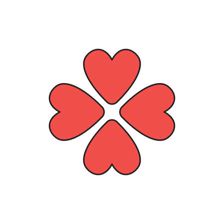 Vector icon concept of rotated four red hearts. Black outlines and colored.